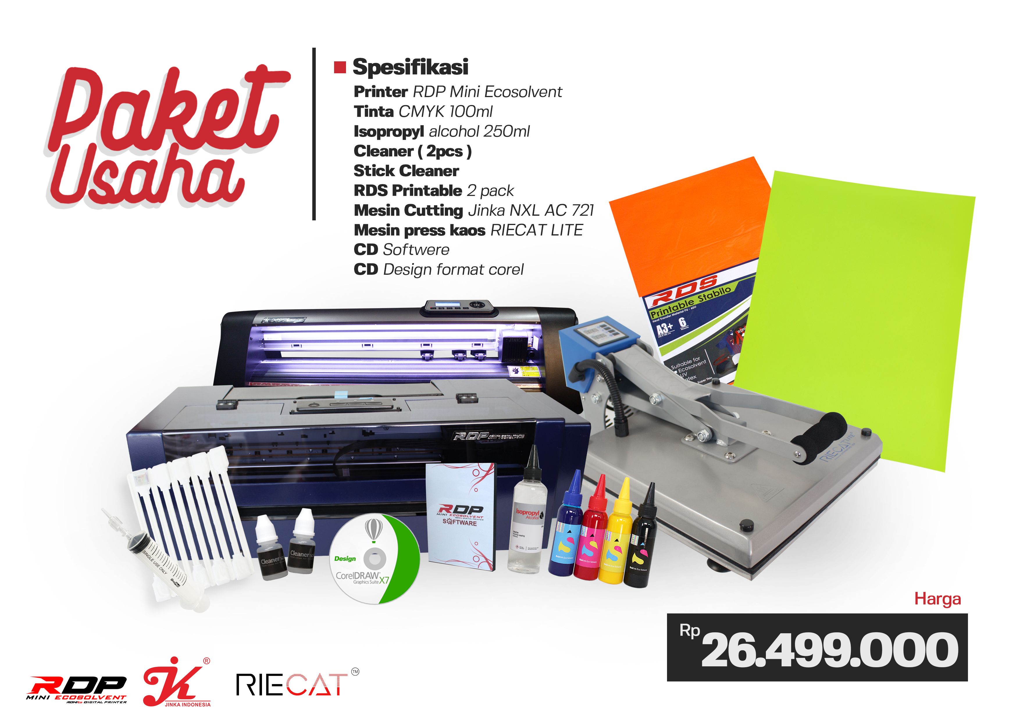 Paket Usaha Printer RDP Ecosolvent + JINKA NXL AC 721