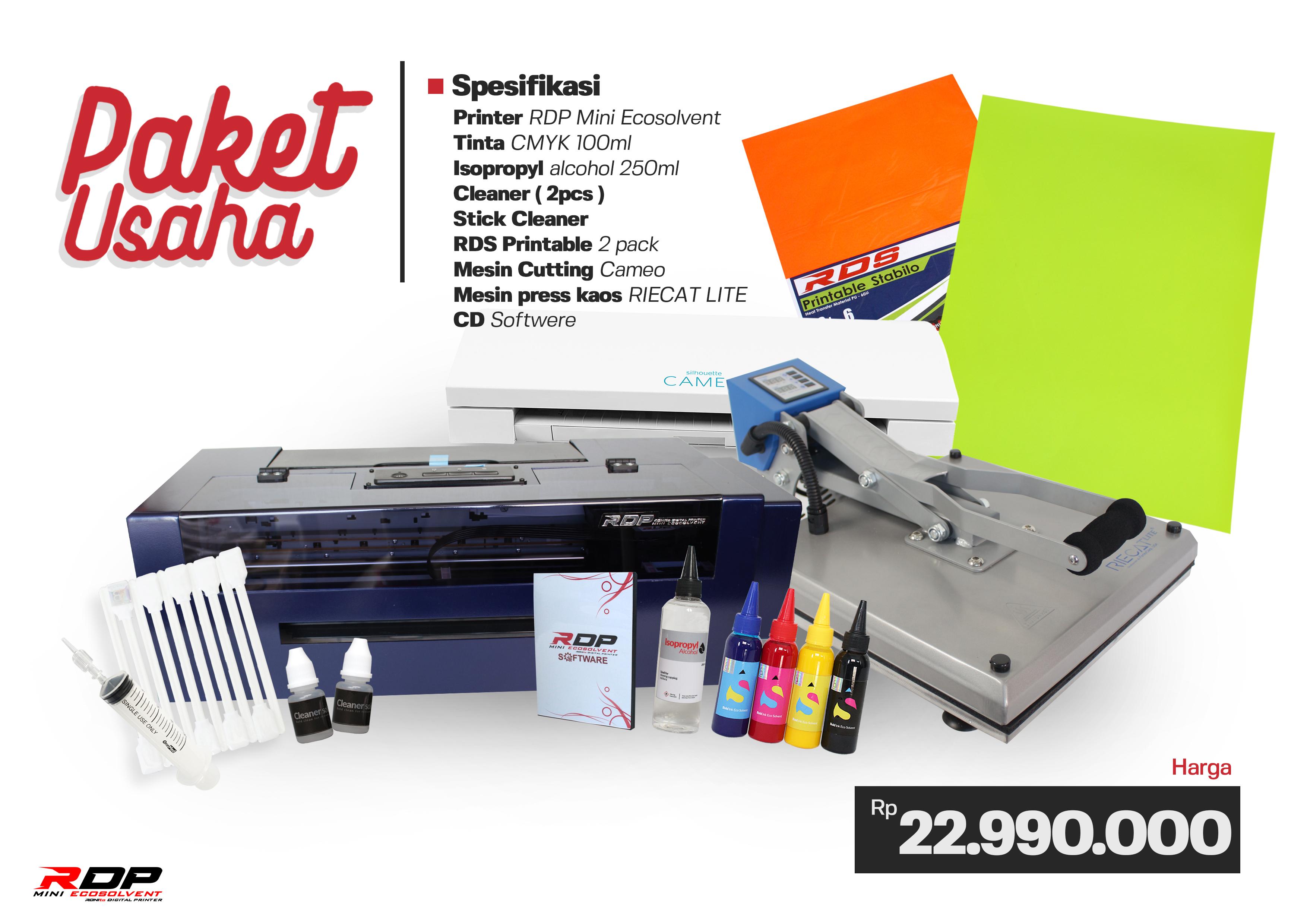 paket usaha printer RDP ECOSOLVENT lengkap siap pakai