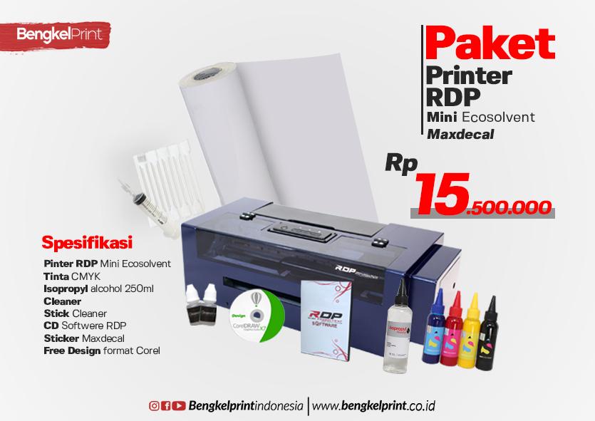 Paket Printer RDP Ecosolvent + Bahan Sticker MAXDECAL